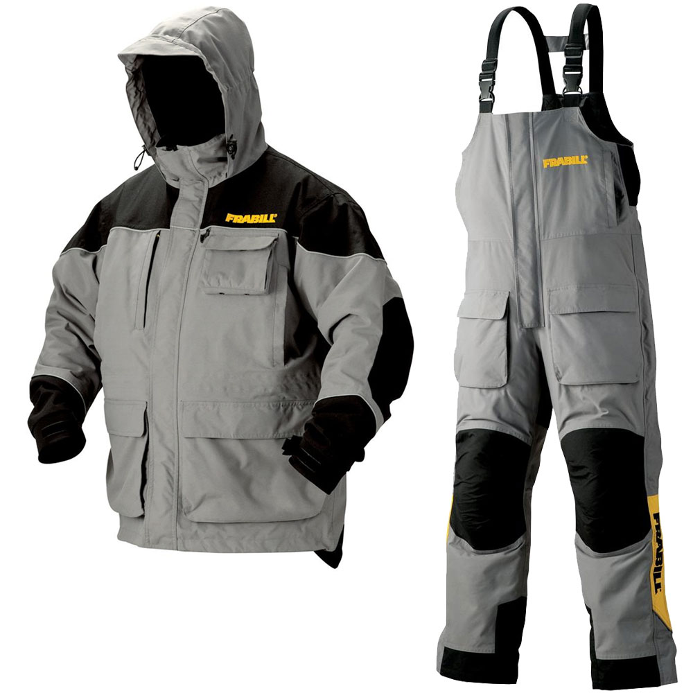 frabill gray jacket bibs set grey ice fishing suit